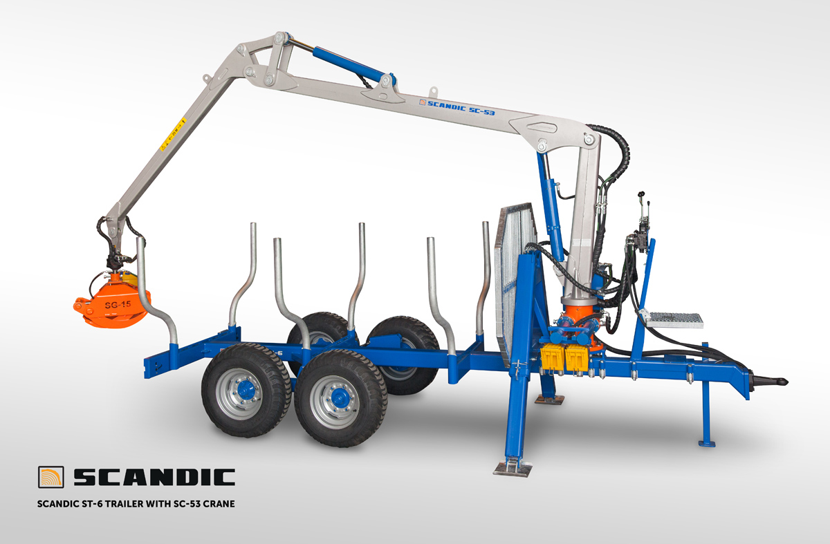 scandic ST 6 forest trailer with SC 53 crane